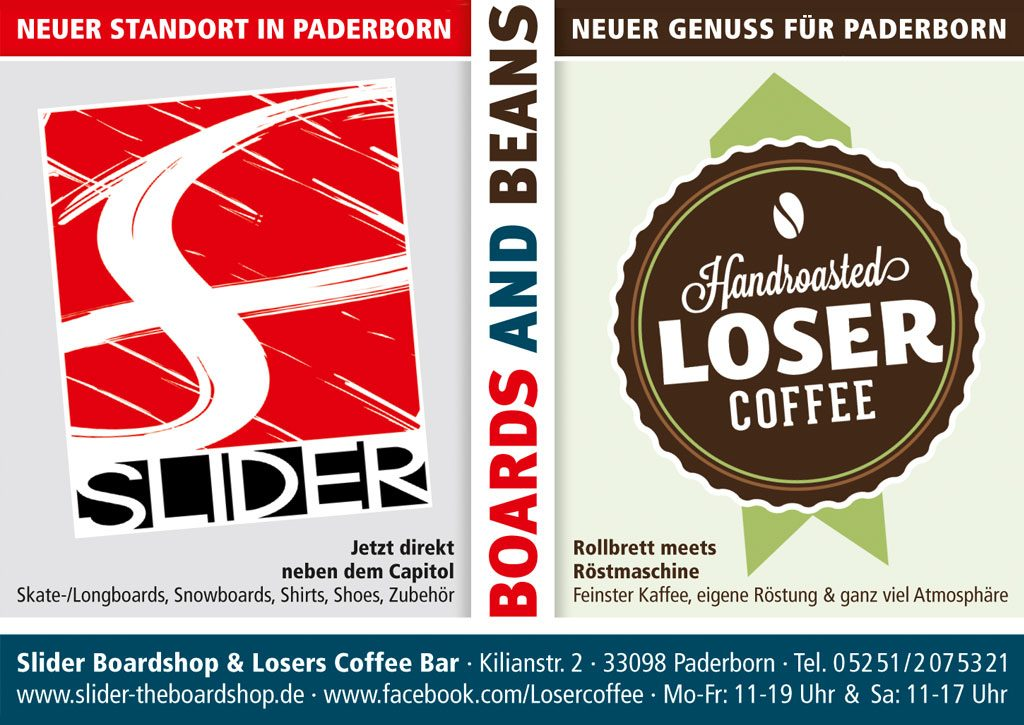 Anzeige Slider Boardshop und Loser Coffee